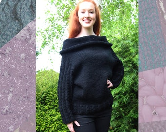 Cable Cowl Sweater Hand Knitting Pattern