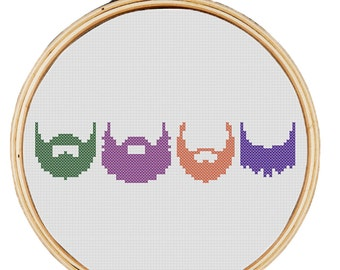 Beard Life beards modern hipster cross stitch pattern