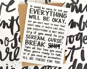 Funny Sympathy Card - Funny Coping Card - Funny Divorce Card - Funny Break-Up Card - Everything Will Be Okay... Break Sh*t