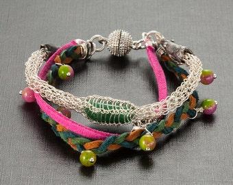 Layered bracelet, Viking knitted bracelet, Original bracelet, gemstones jewelry, natural stones jewelry, artificial suede cord, pink, soroka