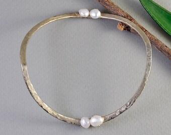 Thin silver cuff bracelet, wavy bangle, hammered pearl cuff, stacking alpaca cuff, bridesmaid gift, wedding jewelry, simple bangle.