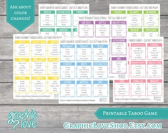 Printable Baby Shower Taboo Game 54 Cards | Instant Download, PDF File
