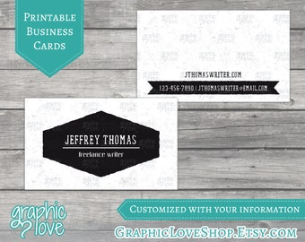 Printable, Personalized Black and White Double Sided Business Cards | Digital JPG, PNG, & PDF