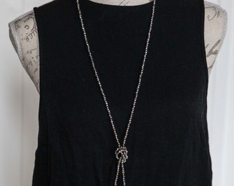 Long lariat bead necklace / very long grey beaded necklace / Light grey electroplated faceted 4mm glass bead long necklace