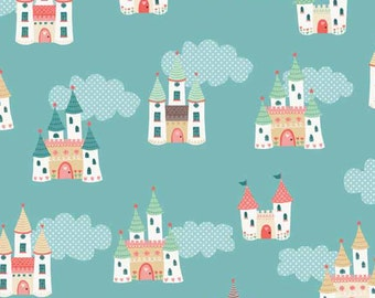 Tutu Castles in the Sky Princess Ballerina Cotton Fabric by Makower from Tutu collection per Fat Quarter FQ