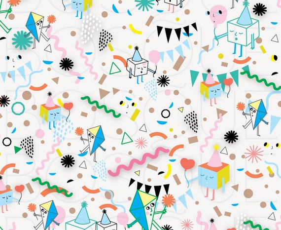 Selective image within printable birthday wrapping paper