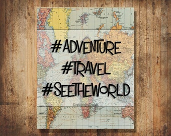 Hashtag Travel Canvas Wall Decor/Wall Hanging
