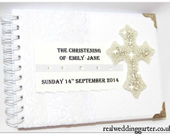 Personalized christening/Baptism/Naming Day guest book boy girl blue white'
