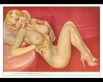 "Vargas Playboy Pinup Girl Vintage December 1963 ""Santa."" Sexy Blonde Nude Mature Pink Shoes Intact 2 Page Gatefold Pinup Wall Art Deco Print"