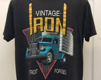 Vtg 1992 SSI Vintage Iron Detroit T-Shirt Black L 90s Truck Thin