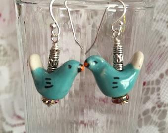 Blue Bird Dangle Earrings,