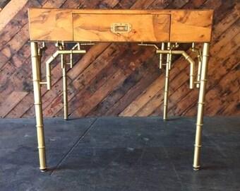 Mid Century Hollywood Regency Burl Desk