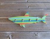 Handcrafted Striped Shark Coat Rack Beach Decor Nursery Bathroom Beach Themed Decor Nautical Ocean Coastal Theme Decor.