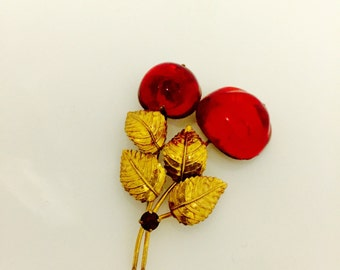 Vintage Autrian 50's Gold tone Red Cherry Brooch.