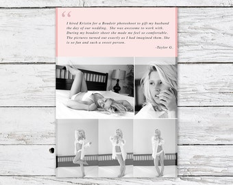 Quote, Testimonial, Blog, Facebook, Website, Social Media, Pink, Photographer, Marketing, Photoshop Template - Immediate Download