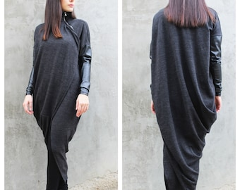 Grey Wool Vest/Asymmetrical Top/ Extravagant Tunic/ Long Drape Vest/ Long Sleeves Top by FRKT V0013