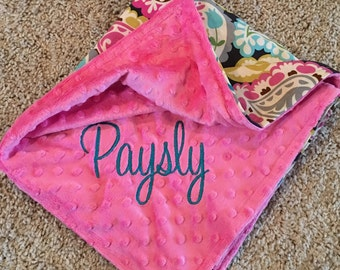 Car Seat Blanket/ Paisley and Minky Baby Girl Blanket