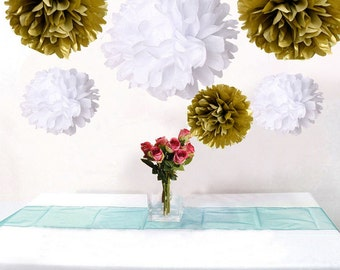 12pcs MIxed Gold White Paper Pom Poms Flower Wedding Garland Birtday Bridal Shower Nursery Hanging  Party Decoration