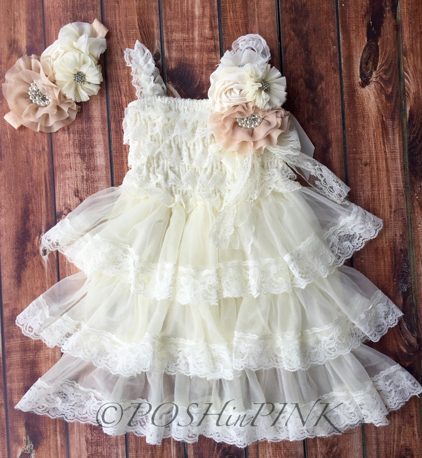Rustic Girl Dress Pin Ivory Country Champagne By