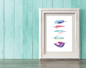 Watercolor Feather Print- 8x11 digital print