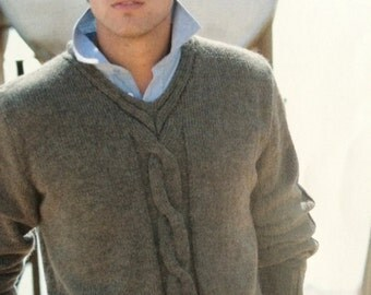 Mens v neck cable jumper knitting pattern