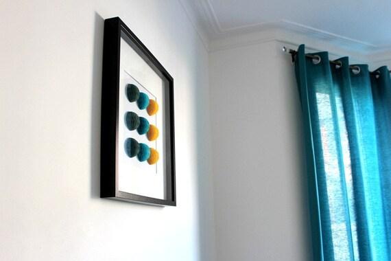 Modern Wall Art. Luxurious Honeycomb Wall Art. Teal Grey Yellow. Modern Interior. Minimalist Home Decoration. Stylish home decoration.