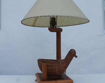 Vintage Rattan Bird And Bamboo Table Lamp.