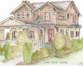 Custom House Portrait Illustration - Original Home Watercolor Painting