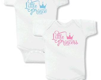 Little Prince & Little Princess Baby Onesies or Tees for Boy/Girl Twins - SOLD AS A SET