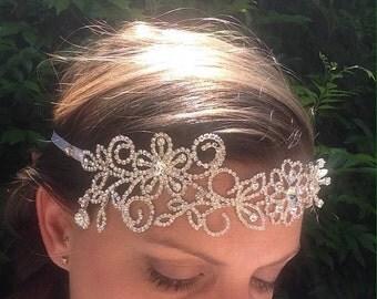 Jade; Crystal headband, hair bling, bridal accessories, headband, headband jewellery