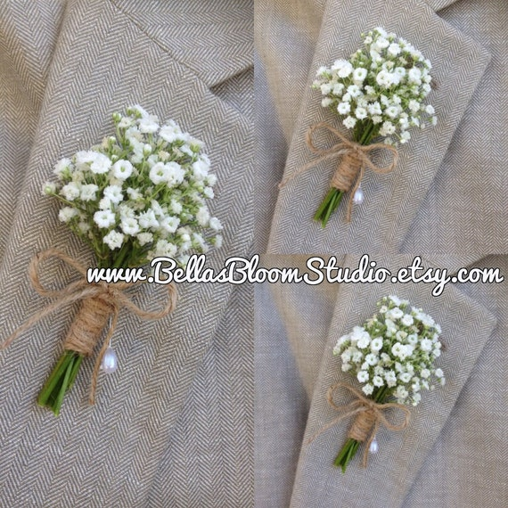 Rustic Boutonniere Baby S Breath Boutonnieres Mens