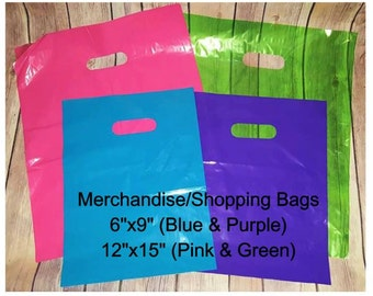 Colored Merchandise Shopping Bags