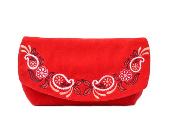 Embroidered bridesmaid bag, Red Wedding clutch purse, Boho clutch, Envelope clutch bag, Embroidered clutch bridesmaid gift, evening clutch