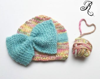 Baby hat with big bow - newborn knitted hat - newborn romantic hat - baby fotografie accessoire - baby knitting photo props