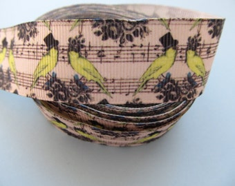 """Grosgrain Musical Note with Birds Music Ribbon 1"""" 25mm"""