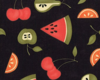 Sassy by Sandy Gervais (17650 12) Black with Fruit Quilting Fabric by 1 Yard Increments