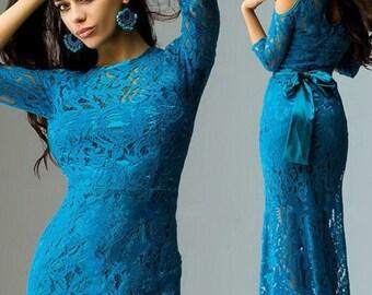 Turquoise lace Evening dress , ceremonial dress, wedding dress, bridesmaid.