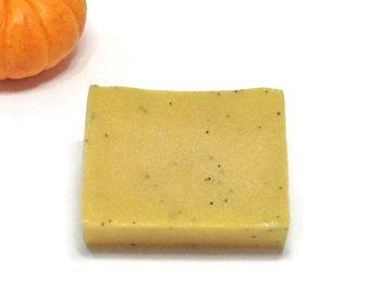 Poppy Seeds Pumpkin Puree Soap - Facial Exfoliating Bar Soap, Natural Handmade Cold Process Soap, Moisturizing Vegan Bath and Body Soap Bar.