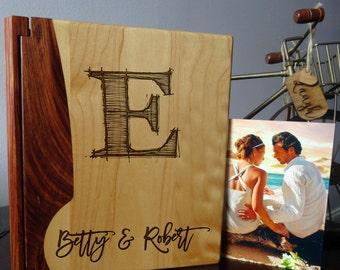 Custom Engraved wood Photo Album, Personalized photo album, Wedding monogram  - 106 design