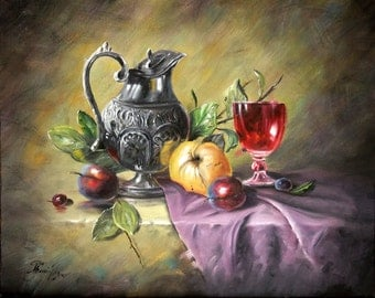 Red Wine Still Life Painting, Original Oil painting on canvas by By Chris Art -Wall hanging  Size:16x20in 40x50cm