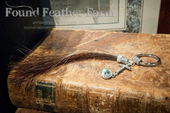 Chestnut Horsehair Keyring with a Jeweled Rhinestone Cross