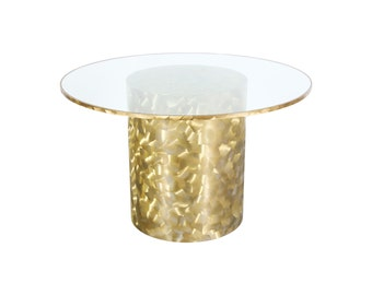Unique Iridescent Brass Base Dining Table w/ Glass Top