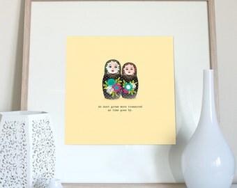 Aunt print, Aunt gift, aunt present, Aunt saying, aunt quote, Russian dolls, Matryoshka dolls, Babushkas dolls print, nesting dolls print