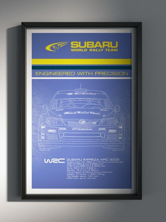Subaru World Rally Team, Team Poster, WRC, 2008 World Rally Car Front View - Art Print Production