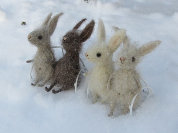 Fluffy little bunnies Felted rabbits Gifts for Easter Cute animals