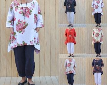 Plus Size Linen Lagenlook Tunic Top Blouse Shirt Quirky Dress Size UK 14 16 18 20 22 24/US 12 14 16 18 20 22 1X 2X 3X 4X  Floral 3118