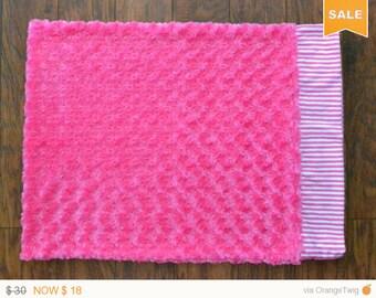 Fuchsia stripes pillowcase, Minky pillowcase.