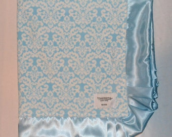 Satin Collection blue/white, Baby/toddler blankets, Handmade.