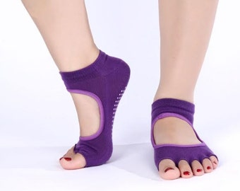 Yogic Toes - Purple Grippy Toeless Yoga Socks