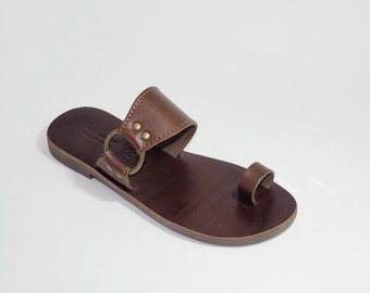 Greek Leather Sandals (37, 38, 39 - Brown)